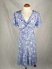 Ladies Dress Size 12 PER UNA Blue White Midi Chiffon Party Evening