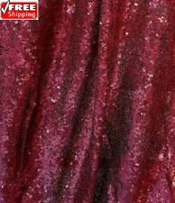 Burgundy Sequin Fabric, Glitters Sequins Full Sequin on Mesh - by the Yard -SQB