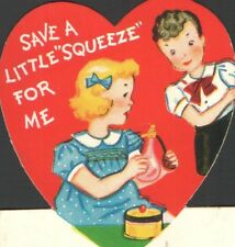 Vintage Valentines Card Girl w/ Old Perfume Bottle  SAVE a LITTLE SQUEEZE For ME