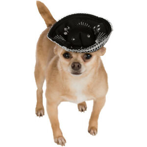 Black and Silver Pet Sombrero Dog Costume Mexican Mariachi Puppy Taco Bell Hat