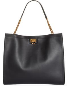 Salvatore Ferragamo Large Trifolio Gancio Black Leather Tote $2200.00 #709STM