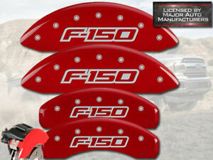 """2012-2014 Ford F150 """"F-150"""" Front + Rear Red MGP Brake Disc Caliper Covers 4pc"""