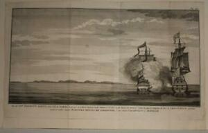 SAMAL ISLANDS PHILIPPINES 1750 GEORGE ANSON ANTIQUE COPPER ENGRAVED COASTAL VIEW
