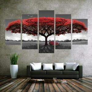 No Framed Home Decor Canvas Print Painting Wall Art Red Tree Scenery Bench YG