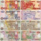 Zambia 4 Note Set: 50 to 1000 Kwacha (2007-2009) - p37f, p38h, p43f and p44f UNC