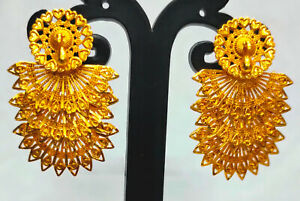 22K Gold Plated Indian Bollywood 4 CM Long Wedding Fashion Earrings Set ETFNS8