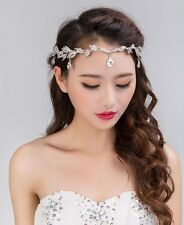 Crystal Rhinestone Head Chain Bridal Headpiece Wedding Hair Jewelry Tiara Silver