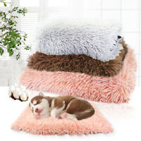 Soft Gray Plush Dog Bed Pet Cat Calming Bed Warm Sofa for Kennel Crates Cushion