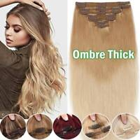 Real Double Weft Clip in Remy Human Hair Extensions Thick Full Head Blonde Ombre