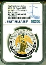 2018 Canada S$20 Gilt WWI Battlefront Series Armistice Of Compiegne NGC PF70 UC