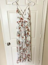 Forever 21 Floral Maxi Waterfall Dainty Strappy Evening Dress Cream S