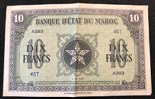 1943 French Morocco Notes: 10 Francs XF/AU, 20 Francs VF/XF w tear, 50 Francs VF