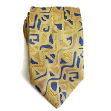 ALTEA MILANO Mens Neck Tie Gold Blue Abstract Made In Italy 100% SIlk
