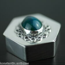Vintage sterling silver box cabochon Chrysocolla gemstone Israel 925 pill gift