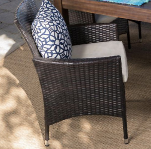 Multi-Brown Wicker Outdoor Beige Cushion (Chair Only)