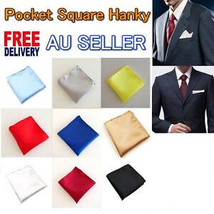 NEW Men Satin Pocket Handkerchief Hanky Plain Wedding Party Square High Quality