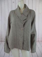 Flax Blazer Jacket M Linen Taupe Textured Slub Button Front Shawl Collar Boho
