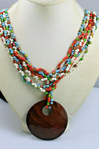Coldwater Creek Multi strand colorful red turquoise color glass bead Necklace