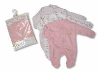 Baby Girls Pink Sleepsuit Babygrow  Long - Size 3-6 months - 3 Pack - 852G