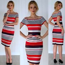 Dress Size 16 Work Party Stripes Off The Shoulder