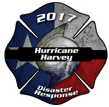 "Hurricane Harvey Disaster Response Firefighter 2"" Decal/Sticker Maltese Cross"