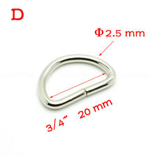 "25pcs 3/4""(20mm) Nickel Plated D Ring Semi Ring Ribbon Clasp Knapsack Belt"