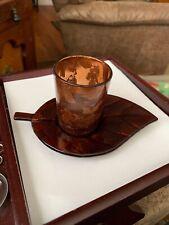 Amber Copper Votive Glass Art Tea Candle Holder Cup & Leaf Saucer Unlabeled