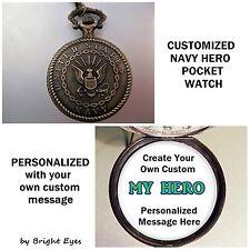"CUSTOM Personalized USA Navy Military Pocket Watch 31"" Necklace Unisex ""My Hero"""
