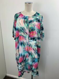 LIFEwithBIRD Multicoloured Abstract Print 100% Silk Dress sz 3 or 12 14 [md