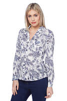 Roman Originals Women's Blue Slim Fit Floral Jersey Burnout Shirt Sizes 10-20
