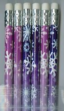 Winter white snowflakes on purple pencils. Set of 6!