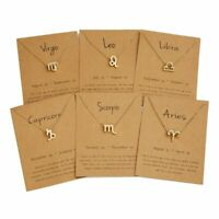 12 Constellation Symbol Zodiac Signs Women Pendant Necklace Card Choker Jewelry