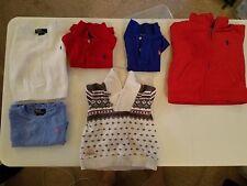 Lot of 6 RALPH LAUREN/POLO Boy Polo Shirts, Sweater, & Coat 12M, 18M, 24M EUC