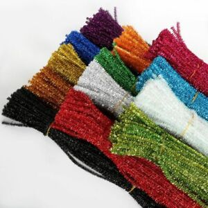 Glitter Chenille Stems Pipe Cleaners Plush Tinsel Stems Wired Kids Toys Sticks