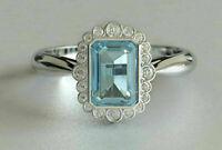 4.20Ct Emerald Cut Aquamarine Halo Engagement Ring Solid 14K White Gold Finish