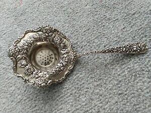 Godinger Silver Plate Art Nouveau Tea Strainer Floral Decorative Vintage Antique