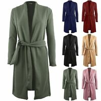 Womens Ladies Full Sleeved Open Front Belted Coat Blazer Long Duster Cardigan
