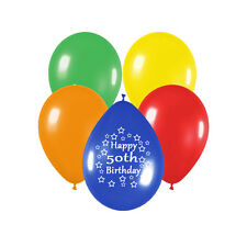 12-Inch Latex 50th Birthday Balloons (Pack of 10, Multicolour)