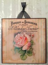 Vintage Paris Shabby Pink Rose Wall Decor Sign Plaque French Country Chic