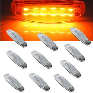"""10x 12LED 6.15"""" Clear Lens Amber Car Truck Side Marker Light Panel For Peterbilt"""