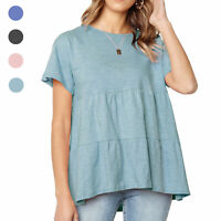 Womens Babydoll Tee High Low Summer Casual Tunic Tops Short Sleeve T Shirts