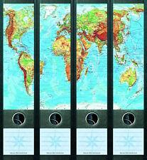File Art 4x Ordner-Etiketten WORLD ★ WELT Ordner RÜCKENSCHILDER Sticker 062