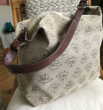 VTG DOONEY & BOURKE Khaki Signature Canvas Florentine Leather LG Hobo Bag RARE