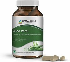 Herbal Hills Aloe Vera 120 veggie Capsules with Natural Aloe high Concentration