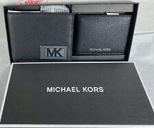 MICHAEL KORS MENS GIFTING Black Leather Wallet BILLFOLD BOX SET