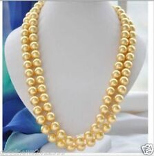 14K Yellow Gold LONG AAA 9-10MM SOUTH SEA ROUND GOLD PEARL NECKLACE  36 INCH