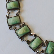 *Vintage EARLY 30's Mexican Sterling Silver Jade Mask Bracelet BEAUTIFUL Colour