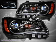 2011-2014 CHRYSLER 300 HALOGEN TYPE HEADLIGHTS BLACK w/ LED ILLUMINATE BAR