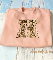 Personalised Leopard Print Initial Kids Sweater Black/Dusty Pink 6-12mt to 9-10y