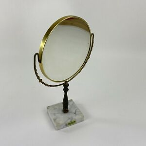 Vintage Shaving Vanity Mirror Magnifies Tilt Round Metal Marble Base Made Italy